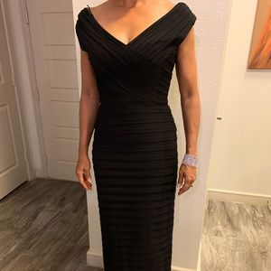 Xscape off shoulder pleated evening gown